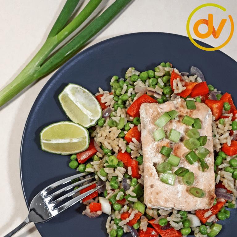 Gebakken rijst met zalm en groenten - DitsVit